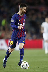 Lionel Messi of FC Barcelona during the UEFA Champions League quarter final match between FC Barcelona and AS Roma at the Camp Nou stadium on April 04, 2018 in Barcelona, Spain.