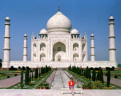 The Princess of Wales in front of the Taj Mahal, during a Royal tour of India.