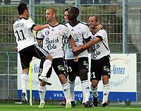 Fotball<br /> Frankrike<br /> Foto: DPPI/Digitalsport<br /> NORWAY ONLY<br /> <br /> FOOTBALL - FRENCH CHAMPIONSHIP 2009/2010 - L2 - VANNES OC v FC METZ - 7/08/2009 <br /> <br /> JOY GHISLAIN GIMBERT (VAN) AFTER HIS GOAL