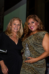 SANTA ANA, CA - OCT 10: Founder/CEO of GLAUDI  Johana Hernandez poses with Silvia Ichar founder of ParaTodos Magazin during ParaTodos Magazine 20th Anniversary Gala at the Bower Museum on 10th of October, 2015 in Santa Ana, California. Byline, credit, TV usage, web usage or linkback must read SILVEXPHOTO.COM. Failure to byline correctly will incur double the agreed fee. Tel: +1 714 504 6870.
