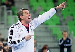 Radu Voina, head coach of Valcea during handball match between RK Krim Mercator and CS Oltchim RM Valcea (ROU) of Women's EHF Champions League 2011/2012, on February 4, 2012 in Arena Stozice, Ljubljana, Slovenia. Valcea defeated Krim 31-25. (Photo By Vid Ponikvar / Sportida.com)