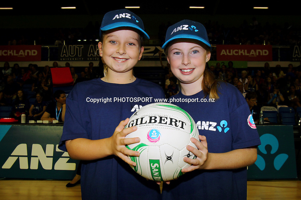 ANZ Future Captains Brair Geange aged 10 (L) and Brianna Jolly aged 9 (R). ANZ Netball Championship, Northern Mystics v WBOP Magic, Trusts Stadium, Auckland, New Zealand. Monday 10th March 2014. Photo: Anthony Au-Yeung / photosport.co.nz