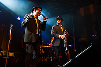 """A Blues Brothers tribute band """"Miller's Blues Orchestra"""" performs at the wine festival in Offenburg, Baden-Württemberg, Germany"""