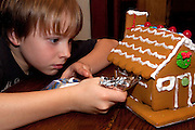 Boy age 10 concentrating on decorating Christmas gingerbread house. St Paul Minnesota USA