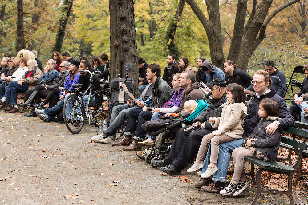 A crowd gathers to watch the Mike Mo Quartet at the Jazz and Colors festival in New York's Central Park.