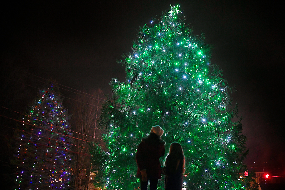 Children stand in front of the town's two lighted trees in the Sandy Hook section of Newtown during tree lighting festivities, Saturday, Dec. 2, 2017. (Jessica Hill for the New York Times)