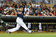 Minnesota Twins Joe Mauer bats against the Oakland Athletics on July 13, 2012 at Target Field in Minneapolis, Minnesota.  The Athletics defeated the Twins 6 to 3.  © 2012 Ben Krause