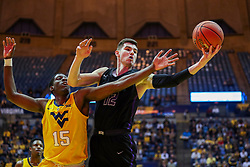 Mar 20, 2019; Morgantown, WV, USA; Grand Canyon Antelopes forward Roberts Blumbergs (12) grabs a rebound during the first half against the West Virginia Mountaineers at WVU Coliseum. Mandatory Credit: Ben Queen