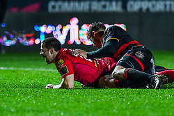 Scarlets' Rhys Jones scores his sides seventh try<br /> <br /> Photographer Craig Thomas/Replay Images<br /> <br /> Guinness PRO14 Round 13 - Scarlets v Dragons - Friday 5th January 2018 - Parc Y Scarlets - Llanelli<br /> <br /> World Copyright © Replay Images . All rights reserved. info@replayimages.co.uk - http://replayimages.co.uk