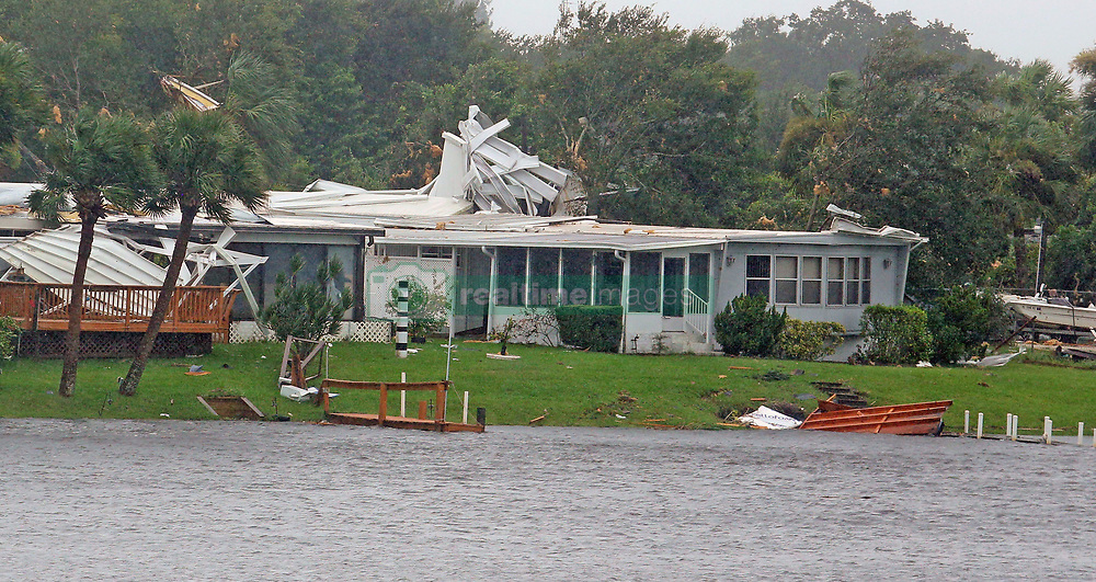 Mobile homes were damaged after a possible tornado touched down at Palm Pam Bay Estates on Sunday, September 10, 2017 as Hurricane Irma made landfall in the state of Florida. Photo by Red Huber/Orlando Sentinel/TNS/ABACAPRESS.COM