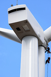 Colebrook South Wind Project. BNE Energy, Owner and The Ryan Company, Contractor. Ground Level Detailed Equipment View of Blades and Turbine. 16 October 2015