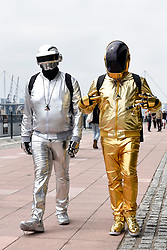 © Licensed to London News Pictures. 25/05/2018. LONDON, UK.  Cosplayers as Daft Punk attend MCM Comic Con at Excel in East London.   Thousands of fans of video games, comic books and other popular character take the opportunity to dress up as their favourite characters.  Photo credit: Stephen Chung/LNP