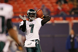 Philadelphia Eagles quarterback Michael Vick #7 throws a pass during warm ups before the NFL game between the Philadelphia Eagles and the New York Giants on December 13th 2009. The Eagles won 45-38 at Giants Stadium in East Rutherford, New Jersey. (Photo By Brian Garfinkel)