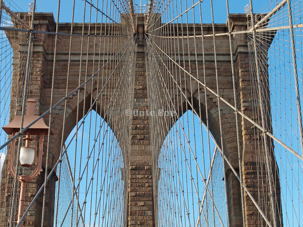 Brooklyn Bridge bricks and suspension wires.