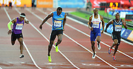 Usain Bolt wins the mens 100m final at the Sainsbury's Anniversary Games at the Queen Elizabeth II Olympic Park, London, United Kingdom on 24 July 2015. Photo by Mark Davies.