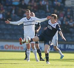 Raith Rovers Calum Elliot and Falkirk's Blair Alston.<br /> Half time : Raith Rovers 1 v 0 Falkirk, Scottish Championship 28/9/2013.<br /> ©Michael Schofield.