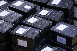 © Licensed to London News Pictures . 05/06/2014 . Newark , Nottinghamshire , UK . Ballot boxes .  The count for the Newark by-election at Kelham Hall , Newark , this evening (Thursday 5th June 2014) . Photo credit : Joel Goodman/LNP