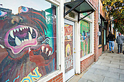 Shop decorated with monsters on Lexington in Asheville, North Carolina.