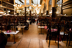 """Following the French government's decision through to slow the progression of the """"coronavirus"""" or COVID-19, all Parisian cafes, bistrot and restaurants have been closed since midnight. Paris, France, on March 15, 2020. Photo by Georges Darmon/Avenir Pictures/Avenir Pictures/ABACAPRESS.COM"""