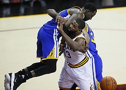 June 9, 2017 - Cleveland, OH, USA - The Golden State Warriors' Draymond Green lands on the Cleveland Cavaliers' Tristan Thompson in the fourth quarter during Game 4 of the NBA Finals at Quicken Loans Arena in Cleveland on Friday, June 9, 2017. The Cavs won, 137-116, trimming their series deficit to 3-1. (Credit Image: © Leah Klafczynski/TNS via ZUMA Wire)
