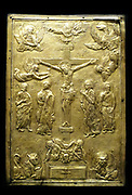 Cover of a gospel book with a representation of the Crucifixion. A work showing influences of central European prototypes, likely to have been made in Wallachia or Transylvania by Goldsmith Nicholaos Vranianit, 1548.