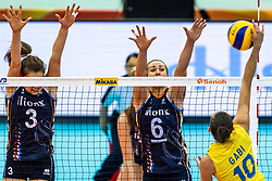 10-10-2018 JPN: World Championship Volleyball Women day 11, Nagoya<br /> Netherlands - Brazil 2-3 / Yvon Belien #3 of Netherlands, Maret Balkestein-Grothues #6 of Netherlands, Gabriela Braga Guimaraes #10 of Brazil