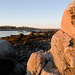 Early morning on the rocky coast of Timber Point in Biddeford, Maine.