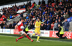 Bristol Rovers fans look on as Edward Upson of Bristol Rovers crosses the ball - Mandatory by-line: Matt McNulty/JMP - 27/04/2019 - FOOTBALL - Highbury Stadium - Fleetwood, England - Fleetwood Town v Bristol Rovers - Sky Bet League One
