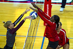 BLOOMINGTON, IL - September 28: Lindsey Paulsen and Emmy Ogogor during a college Women's volleyball match between the ISU Redbirds and the Southern Illinois Salukis on September 28 2019 at Illinois State University in Normal, IL. (Photo by Alan Look)