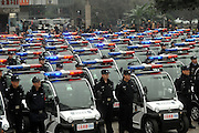 CHONGQING, CHINA - JANUARY 18: (CHINA OUT) A<br /> <br /> Armed Police officers stand by the four-wheel all-terrain motorcycle during a ceremony on January 18, 2016 in Chongqing, China. 110 new electric patrol cars and 6 four-wheel all-terrain motorcycles would be put into use during the Spring Festival in Jiangbei District of Chongqing. <br /> ©Exclusivepix Media