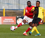 Kaylen Hinds of Watford under pressure from Kenneth Yao of Charlton Athletic during under-23 professional development league match between Watford and Charleton Athletic at Charleton Athletic Park Stadium, Monday, Feb. 3, 2020, in St. Albans, United Kingdom. (Mitchell Gunn-ESPA Images/Image of Sport)