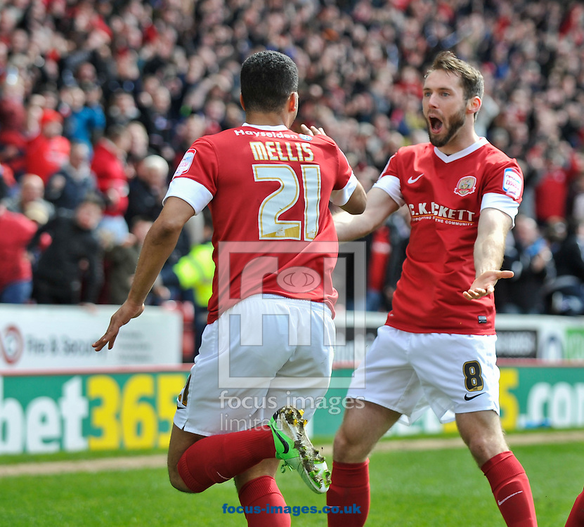 Picture by Richard Land/Focus Images Ltd +44 7713 507003.27/04/2013.Jacob Mellis (L) of Barnsley celebrates scoring during the npower Championship match at Oakwell, Barnsley.