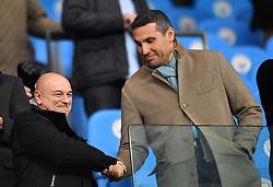 Manchester City Chairman Khaldoon Al Mubarak (right) shakes hands with Tottenham Hotspur Chairman Daniel Levy