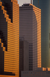 Stock photo of One Shell Plaza framed by Bank of America Center in downtown Houston, Texas