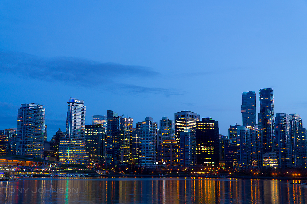 Night view of the Vancouver, BC skyline from Stanley Park