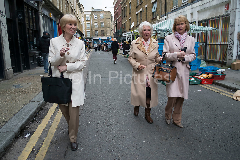 Golden girls family day out on Brick Lane in London, England, United Kingdom.