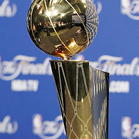 21 June 2012: The Championship trophy is seen during a press conference following the Miami Heat 121-106 victory over the Oklahoma City Thunder, in Game 5 of the 2012 NBA Finals, at the AmericanAirlinesArena, Miami, Florida, USA. The Miami Heat wins the series 4-1.