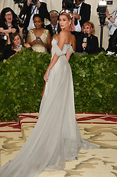 Hailey Baldwin attending the Costume Institute Benefit at The Metropolitan Museum of Art celebrating the opening of Heavenly Bodies: Fashion and the Catholic Imagination. The Metropolitan Museum of Art, New York City, New York, May 7, 2018. Photo by Lionel Hahn/ABACAPRESS.COM