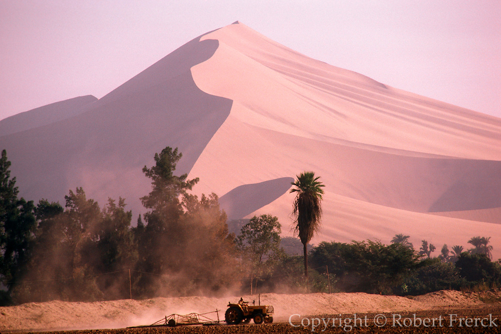 PERU, SOUTH COAST farmland oasis at Ica surrounded by desert and huge, 1000' high, sand dunes