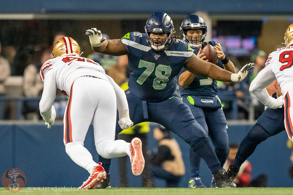 December 29, 2019; Seattle, Washington, USA; Seattle Seahawks offensive guard D.J. Fluker (78) during the second quarter against the San Francisco 49ers at CenturyLink Field.