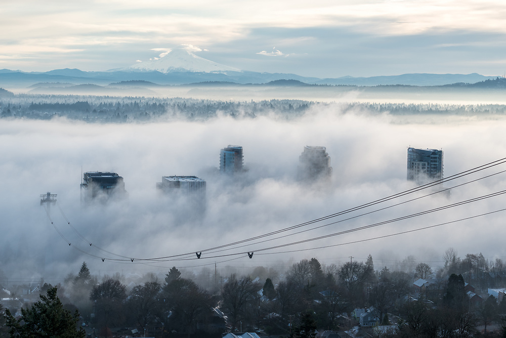 High-rise buildings, fog and aerial tram cables, Portland, Oregon.  Mt. Hood is in the background.