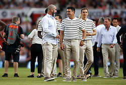 World XI's Eric Cantona (centre) Dan Carter (centre right) prior to the UNICEF Soccer Aid match at Old Trafford, Manchester. PRESS ASSOCIATION Photo. Picture date: Sunday June 10, 2018. See PA story SOCCER Aid. Photo credit should read: Martin Rickett/PA Wire.