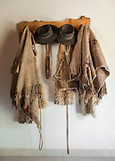Details of traditional Gaucho clothing, Poncho's and hats, Estancia Huechahue, Patagonia, Argentina, South America