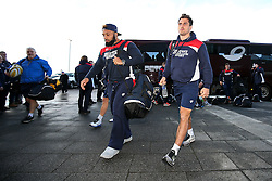 Jamal Ford-Robinson and Jack Wallace of Bristol Rugby arrive at the AJ Bell Stadium - Rogan Thomson/JMP - 01/01/2017 - RUGBY UNION - AJ Bell Stadium - Manchester, England - Sale Sharks v Bristol Rugby - Aviva Premiership New Year's Day Fixture.