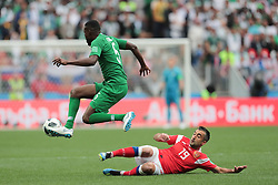 June 14, 2018 - Moscow, Russia - Defender Omar Othman of Saudi Arabia National team and midfielder Alexander Samedov of Russia National team during the Group A match between Russia and Saudi Arabia at the 2018 soccer World Cup at Luzhniki stadium in Moscow, Russia, Tuesday, June 14, 2018. (Credit Image: © Anatolij Medved/NurPhoto via ZUMA Press)