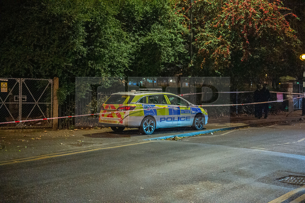 © Licensed to London News Pictures. 05/12/2019. London, UK. A Metropolitan Police car inside a cordon at the Black Boy Lane entrance of Chestnuts Park where a 14-year-old girl was allegedly raped. The victim was allegedly approached by a man who tried to engage her in conversation before raping her. The victim later alerted a family member who called police at 19:10 GMT on Thursday, 5 December 2019. Photo credit: Peter Manning/LNP