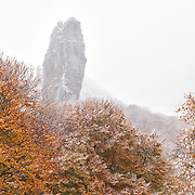 Valley the Chaudefour in Autumn with first snowfall