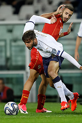 October 6, 2017 - Turin, Italy - Bryan Cristante (L) of Italy national team and Marjan Radeski of FYR Macedonia national team vie for the ball during the 2018 FIFA World Cup Russia qualifier Group G football match between Italy and FYR Macedonia at Stadio Olimpico on October 6, 2017 in Turin, Italy. (Credit Image: © Mike Kireev/NurPhoto via ZUMA Press)