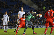 Yvon Nganoma, Swiss U21 catches the ball during the UEFA European Championship Under 21 2017 Qualifier match between England and Switzerland at the American Express Community Stadium, Brighton and Hove, England on 16 November 2015. Photo by Phil Duncan.