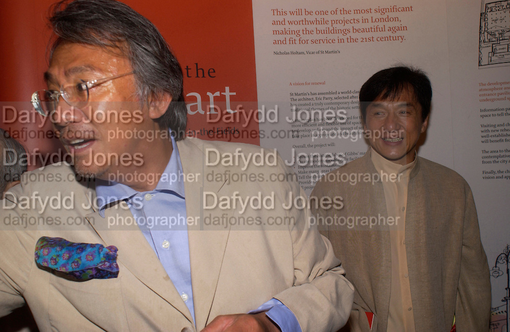 David Tang and Jackie Chan, Jackie Chan visits St. Martin-in-the-fields as a guest of David Tang to lend support to raise money for the renewal of the church and  chinese People's Day Centre. 20 June 2004. ONE TIME USE ONLY - DO NOT ARCHIVE  © Copyright Photograph by Dafydd Jones 66 Stockwell Park Rd. London SW9 0DA Tel 020 7733 0108 www.dafjones.com